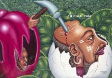 PIERRE BODO (né en 1953) Afrika Pasi Arm Afrikaà, 2002. Acrylique sur