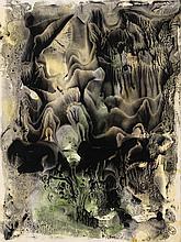 GEORGES HUGNET (1906 - 1974) Décalcomanie, circa 1946. Huile et gouache s