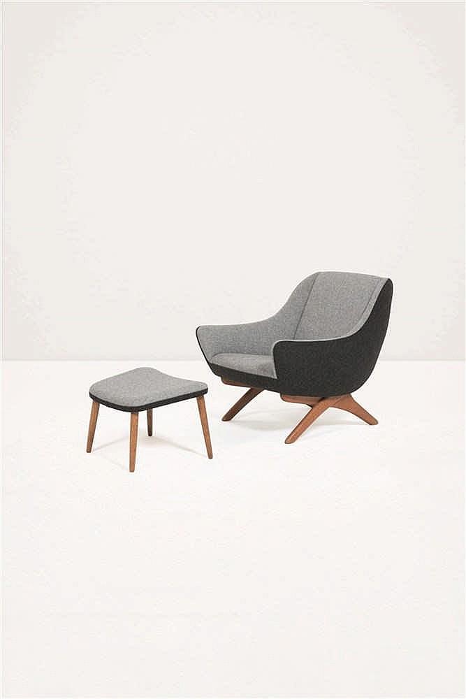 illum wikkels e 1919 1999 fauteuil et son repose pieds dra. Black Bedroom Furniture Sets. Home Design Ideas