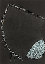 MARIO MERZ (1925-2003) Sans titre, 1974 Verre et craie sur carton. Triptyqu