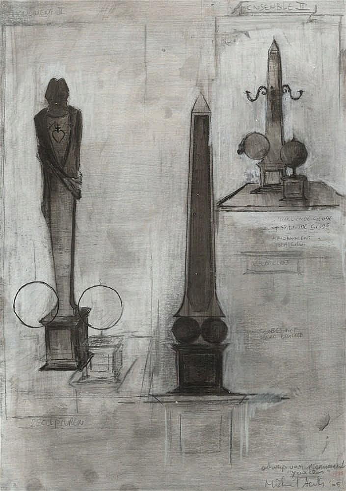 MICHAEL AERTS (né en 1979) Yeux Clos II, 2005. Crayon, encre, gouache, et p
