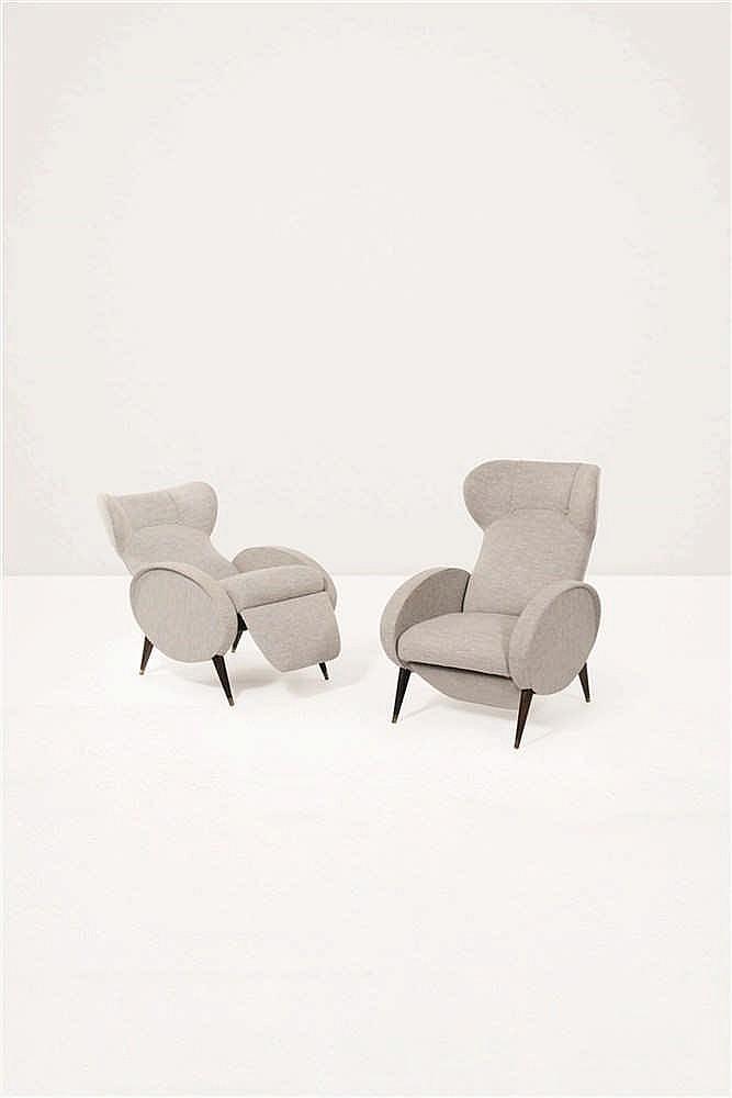 travail italien paire de fauteuils articul s teck et draps d. Black Bedroom Furniture Sets. Home Design Ideas