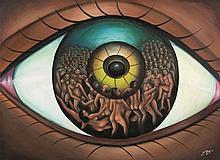 Pierre Bodo (1953-2015) L'œil du voyant, 2013 Huile sur toile. Signée et da