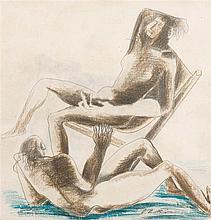 Ossip Zadkine  (1890-1967) Nus, 1966 Crayon de couleurs sur papie