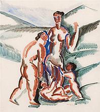 Ossip Zadkine (1890-1967) Deux femmes et deux enfants, 1920 Gouac
