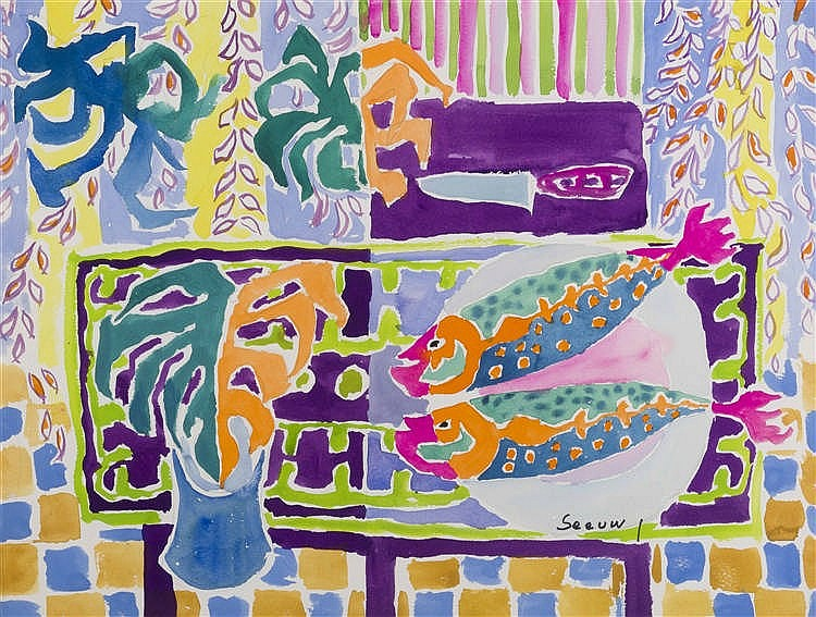 JOS SEEUWS (1912-2003)   Deux poissons