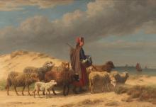 EDMOND JEAN-BAPTISTE TSCHAGGENY (1818-1873) - La bergère et ses moutons, 1868