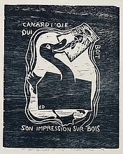ERIK DIETMAN (1937-2002) Canard: Oie qui boit son impression sur bois, 1982
