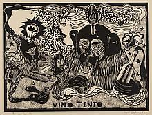 ERIK DIETMAN (1937-2002) Vino tinto, 1981. Gravure sur bois. Signée, numé