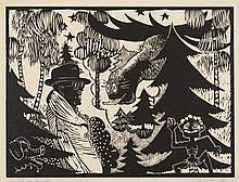 ERIK DIETMAN (1937-2002) Elan solitaire, 1981. Gravure sur bois. Signée, a