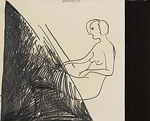 ERIK DIETMAN (1937-2002) Geometrica, 1983. Gouache et pastel sur papier. S