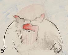ERIK DIETMAN (1937-2002) Cochons, 1983. Aquarelle sur papier. Signée et da
