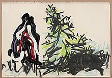 ERIK DIETMAN (1937-2002) Sans titre, 1980. Acrylique, gouache et collage s
