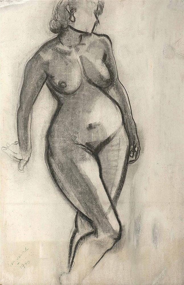 Maurice Van Saene (1911-2000)  Nu féminin, 1940