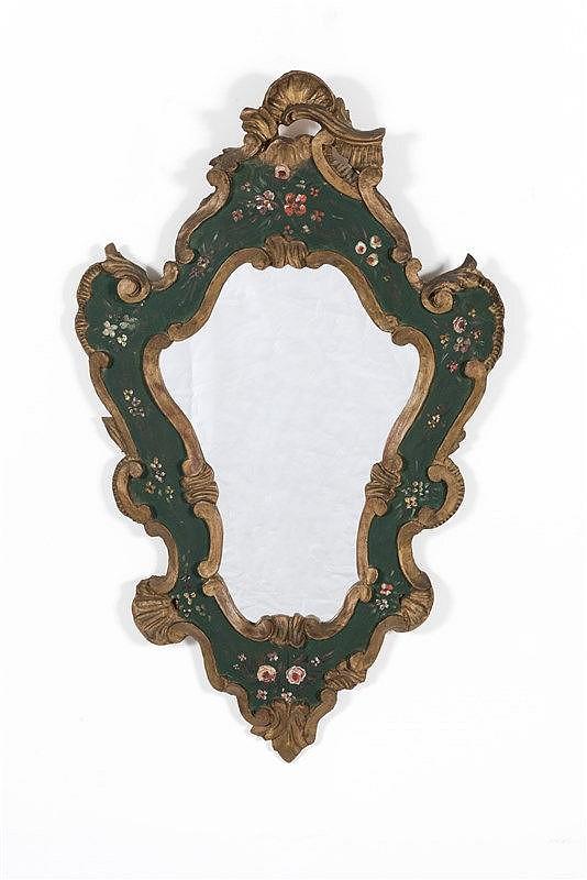 Petit miroir de forme mouvement e en bois relaqu noir et do for Miroir bois noir
