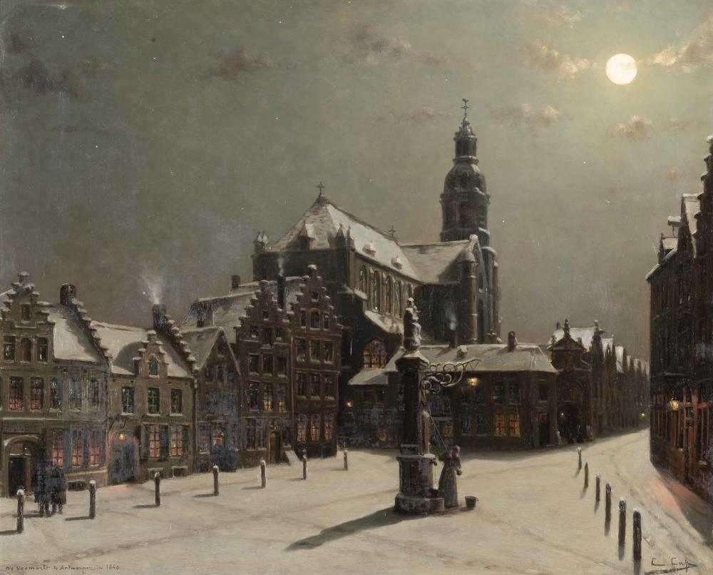 CONSTANT CAP (1842-1915) De voemarkt te Antwerpen in 1840 HUILE SUR TOILE. SIGNÉE EN