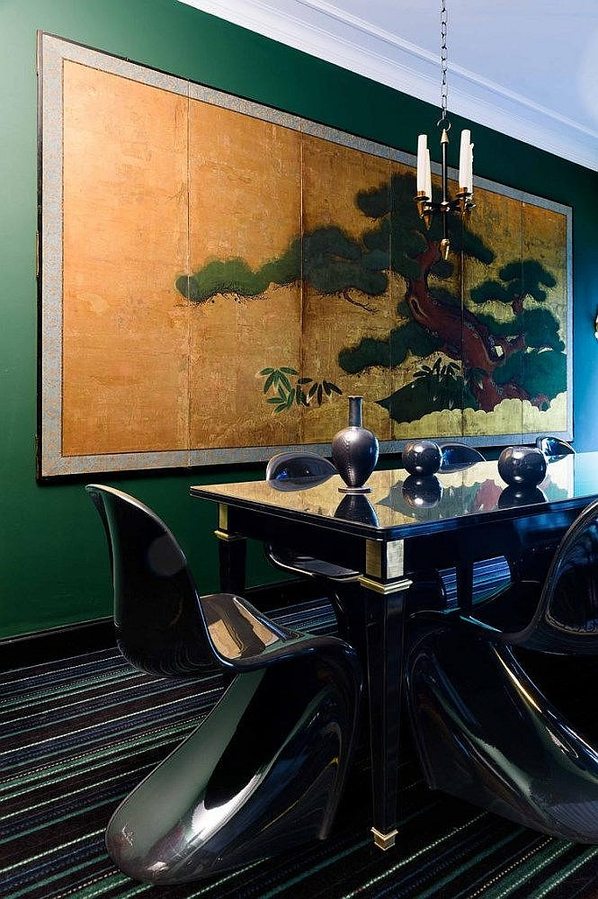 paravent six feuilles d cor peint sur papier d. Black Bedroom Furniture Sets. Home Design Ideas