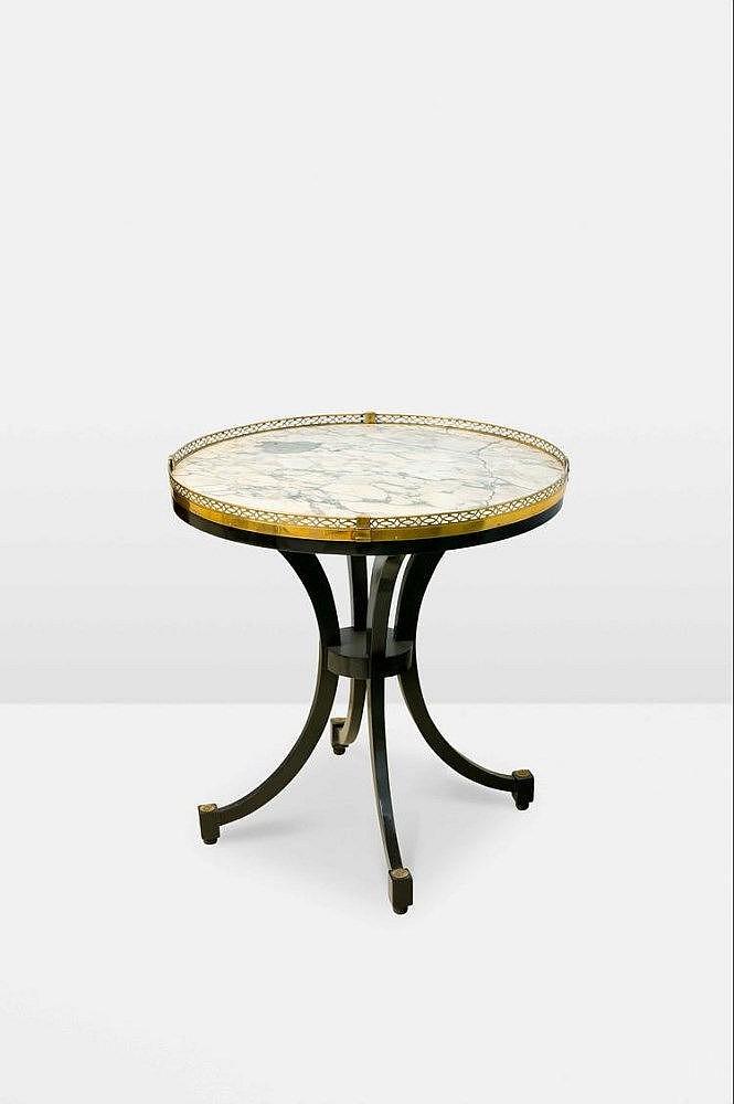 gu ridon de forme circulaire en bois laqu noir re. Black Bedroom Furniture Sets. Home Design Ideas
