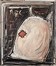 WALTER SWENNEN (né en 1946)  Aardappelzak, 1984  Huile sur panneau et cadre