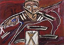 MIMMO PALADINO (né en 1948)  Sans titre, 1985.  Huile et collage sur carton