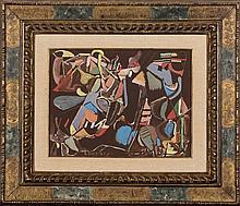 ANDRE LANSKOY (1902-1976) Composition Gouache sur papier collé sur panneau.