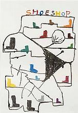 DAVID SHRIGLEY (né en 1968)  Shoe Shop, 2008.  Gouache sur papier.  Monogra
