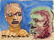 A.R PENCK (né en 1939)  Sans titre, 1981  Aquarelle sur papier.  Signée  en
