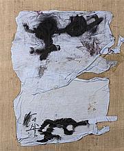 ANTONI TAPIES (1923-2012)  Chiffon Bleu, 1987 Tissu, encre de Chine et vern