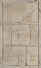 HERBERT ZANGS (1924-2003)  Rechenzeichen auf holz tur funstuk, circa 1950
