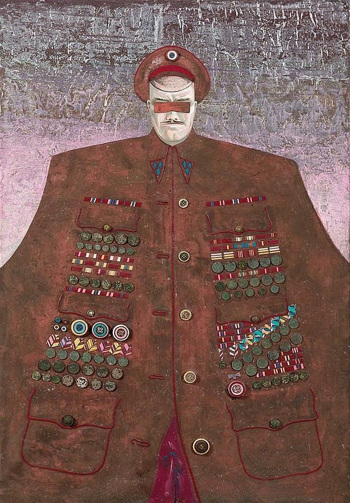Dimitri Kantorov (né en 1958)  Le militarisme, 1989  Huile et collage sur t