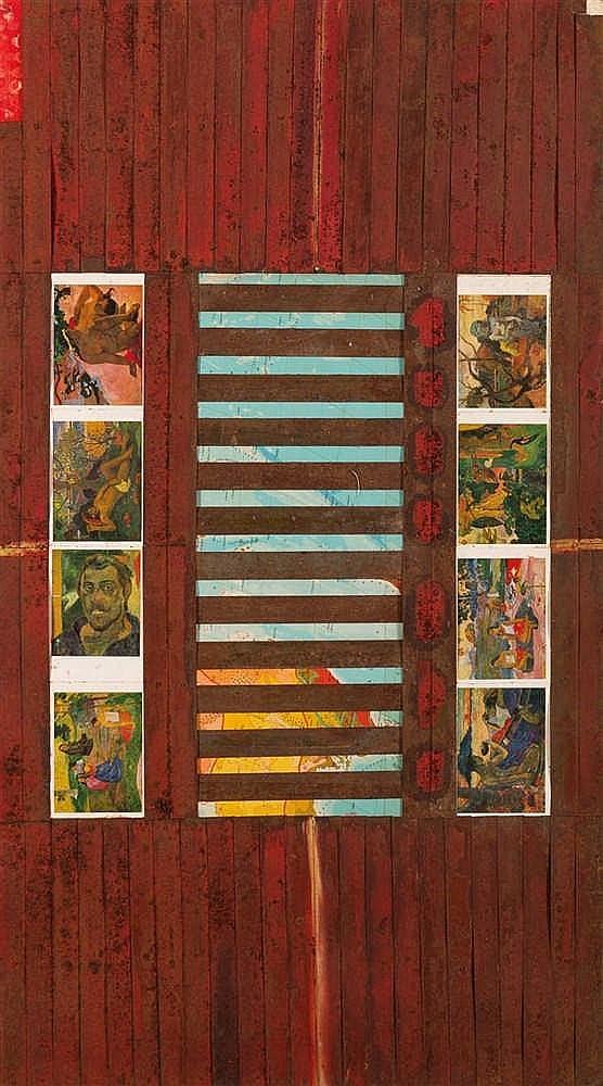 Victor Shilipov (né en 1962)  Ile Tahiti, 1989  Collage et peinture sur boi