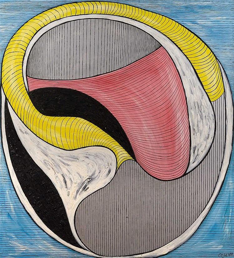 Alexandr Yulikov (né 1943)  Forme N°6, 1988  Huile sur toile.  Signée et da