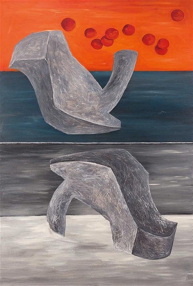 Vadim Zakharov (né en 1950)  C-3, 1988  Huile sur toile.  Signée, titrée et