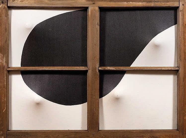 Dimitri Demski (né en 1965)  Composition, 1989  Huile sur toile déformée  e