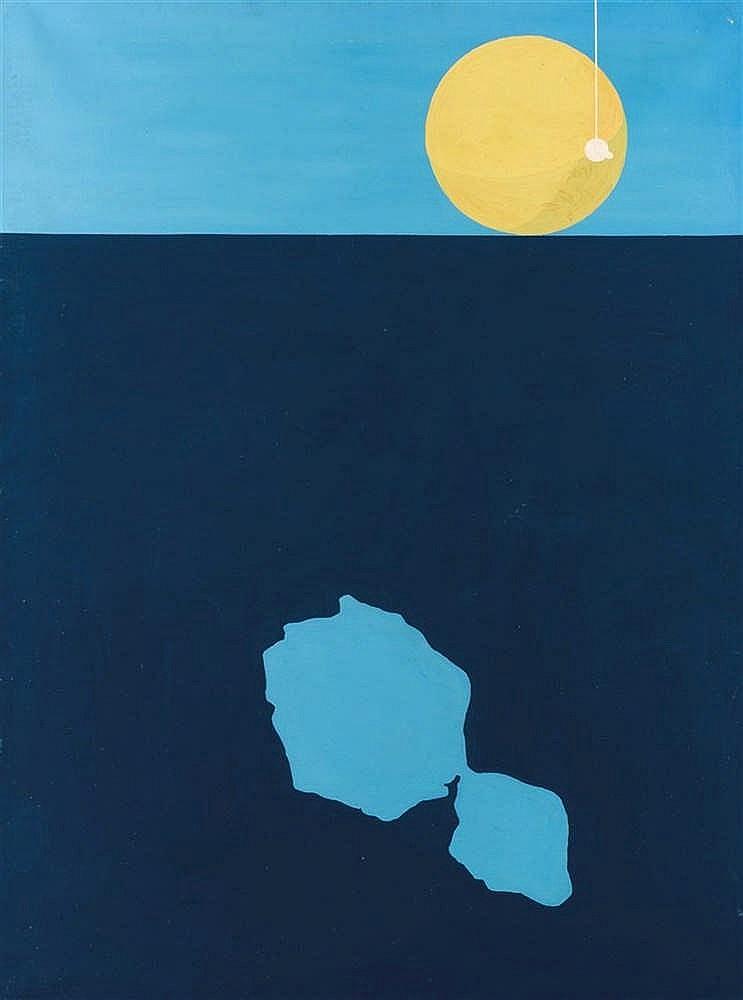 Vadim Fishkin (né 1965)  A travers les iles d'Océanie II, 1989  Huile sur t