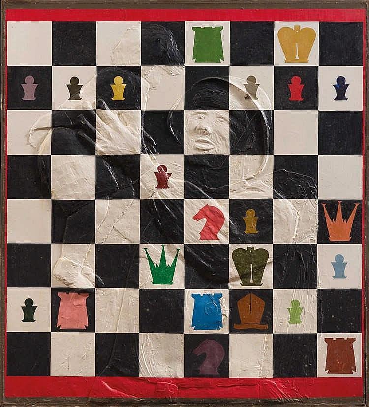 Pavel Fomsky (né en 1967) Game n°2, 1989. Huile et relief sur panneau. S
