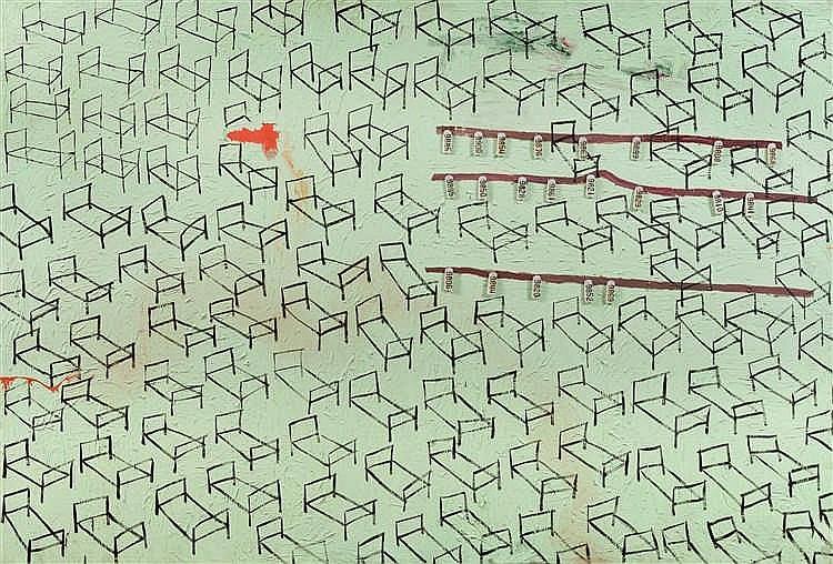 Alexandr Tokariev (né en 1957) Graphique libre du repos, 1989 Huile sur t