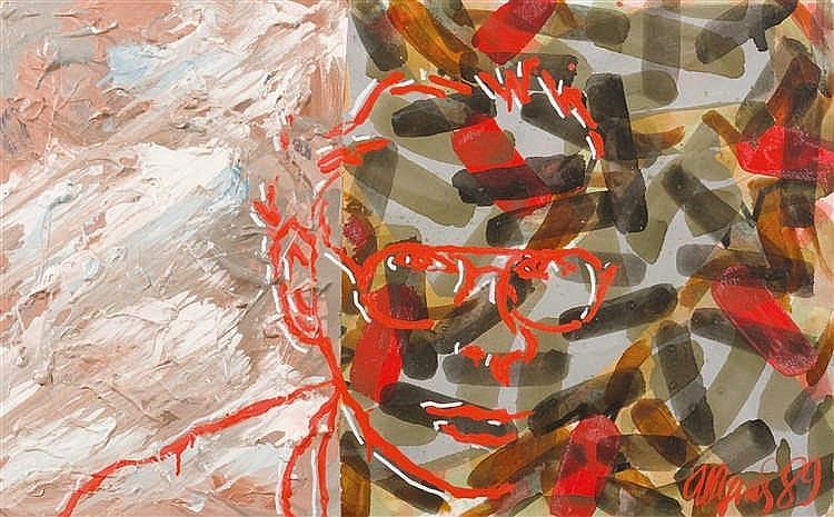 Sergei Shutov (né en 1955)  Autoportrait, 1989  Huile sur carton.  Signée e