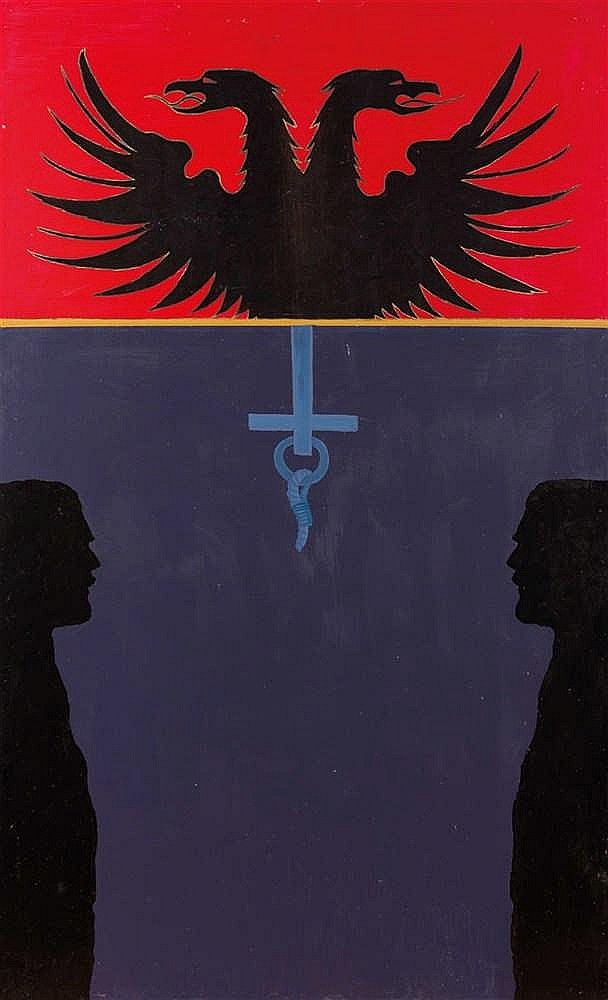 Andrei FILIPPOV (né en 1959)  Foi, Esprit, Amour, 1989  Huile sur panneau.