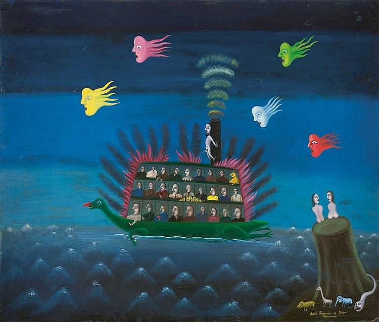 Leonid Purygin (né en 1951)  Bateau miracle, 1988  Huile sur panneau.  Sign