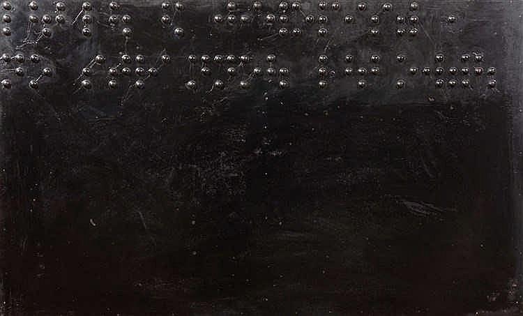 Yuri ALBERT (né en 1959) Peinture pour aveugle, 1988 Huile sur panneau.