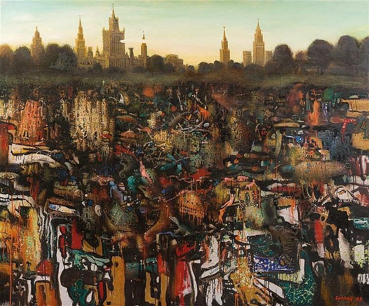 Alexandr Brovin (né en 1958)  Mythe et réalité, 1989  Huile sur toile.  Sig