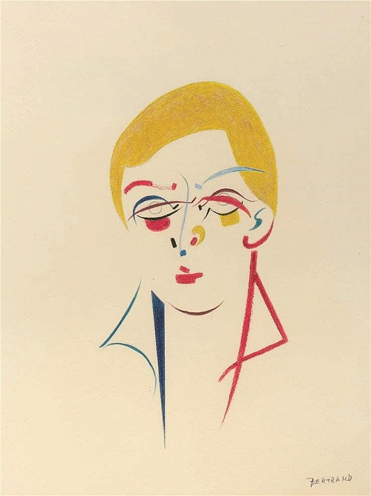 Gaston Bertrand (1910-1994)   Visage solaire, 1985 Pastel sur papier. Signé