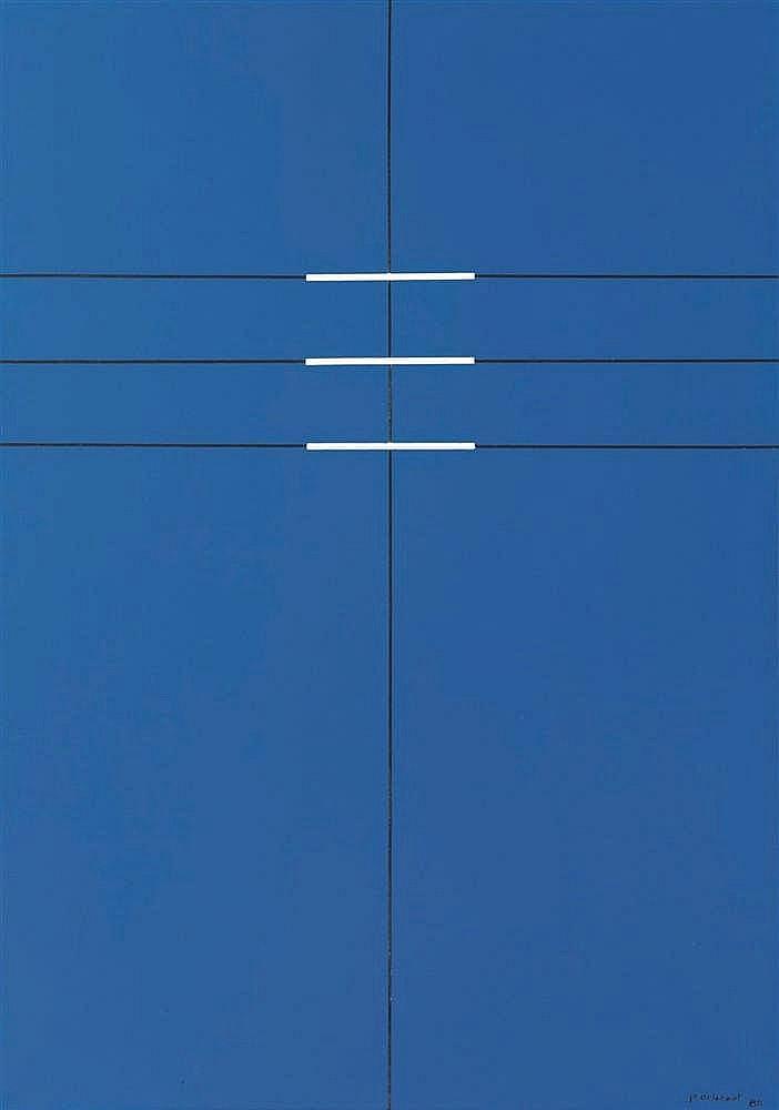 Jo Delahaut (1911-1992)   Synthèse n°3, juin 1980 Huile sur toile. Signée,