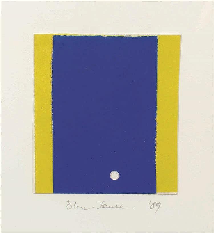 Jo Delahaut (1911-1992) Bleu-jaune, 1969 Collage sur papier. Titré et dat