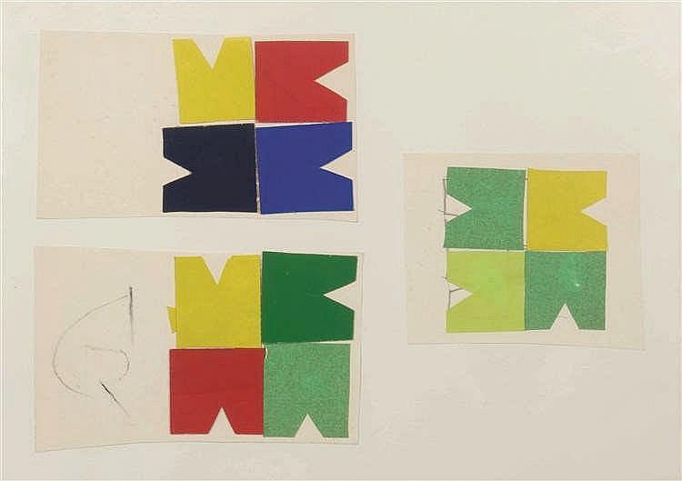 Jo Delahaut (1911-1992) Trois projets Collages sur papier. Collages op pa