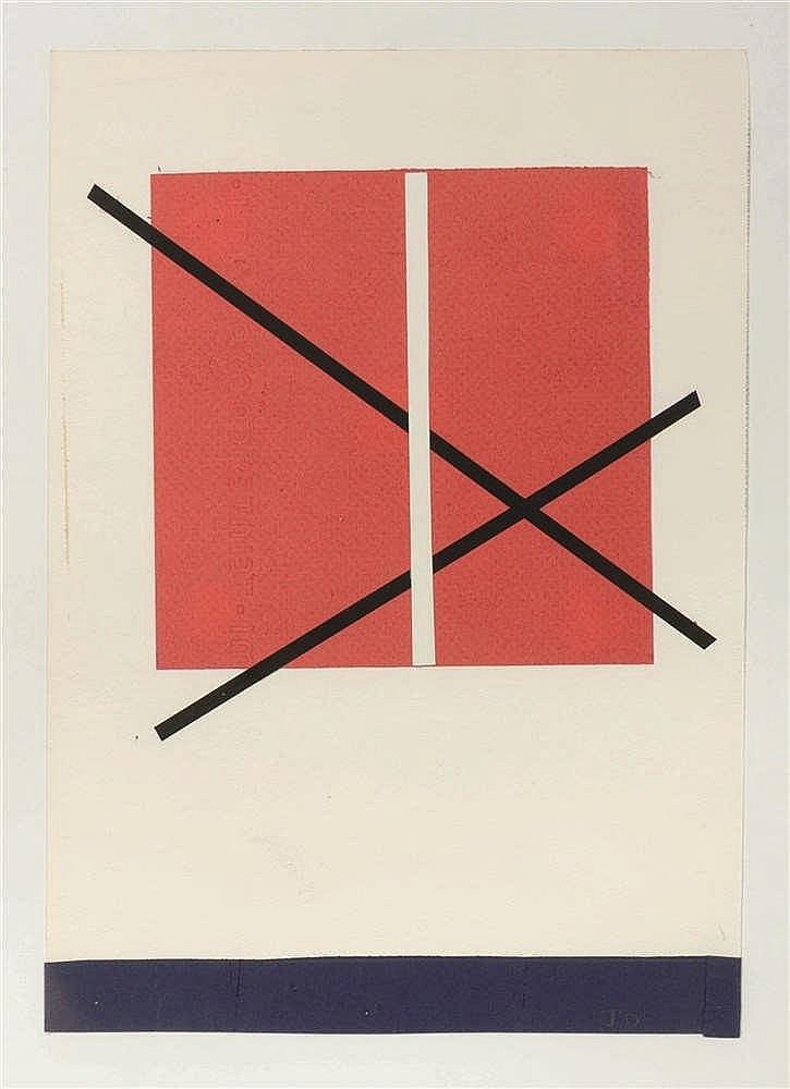 Jo Delahaut (1911-1992)   Projet Collage sur papier. Monogrammé en bas à dr