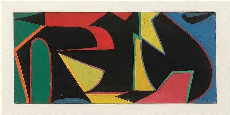 Francine Holley (née en 1919)   Sans titre Gouache sur papier. Monogrammée