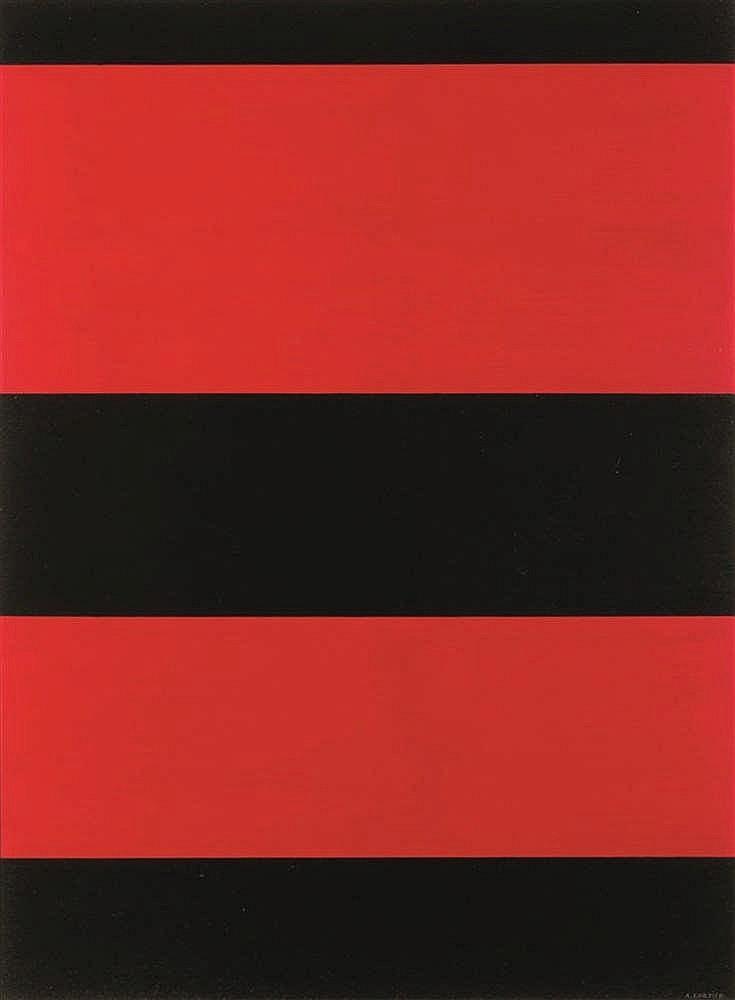 Amédée Cortier (1921-1976)   Zwart-rood, 1971 Acrylique sur papier. Signée