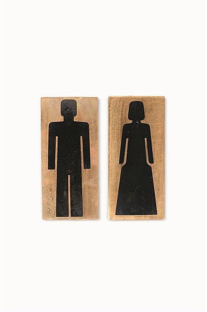 Jules Wabbes (1919-1974) Signe pour toilettes, Hommes et Femmes Signalisati